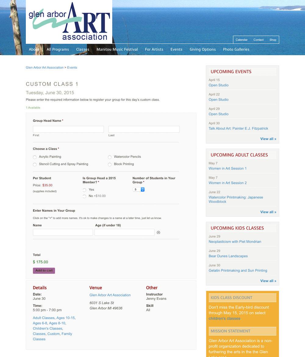 showcase - glenarbor- custom class registration