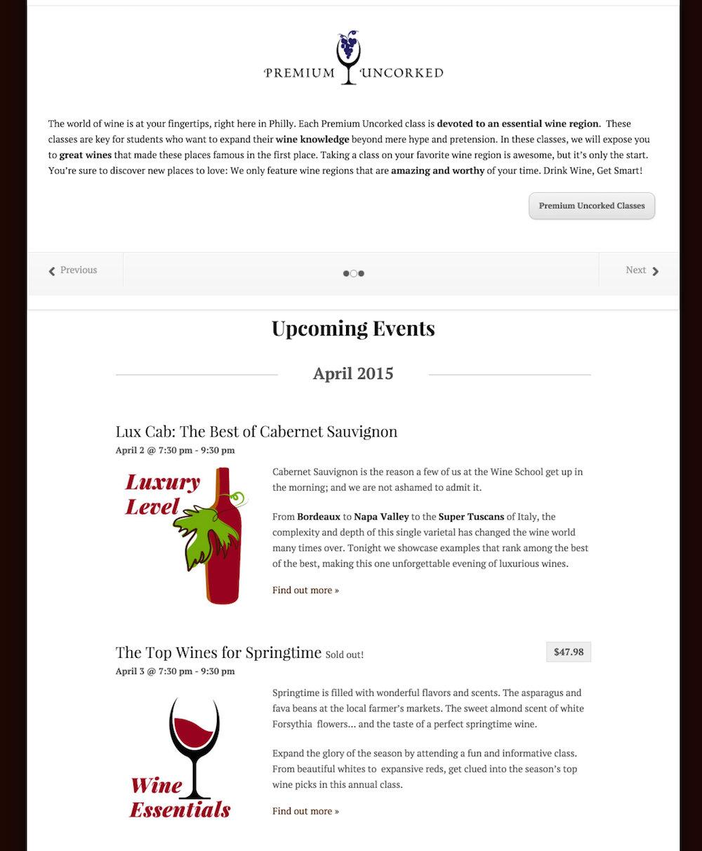 showcase - wine school - list view with slider