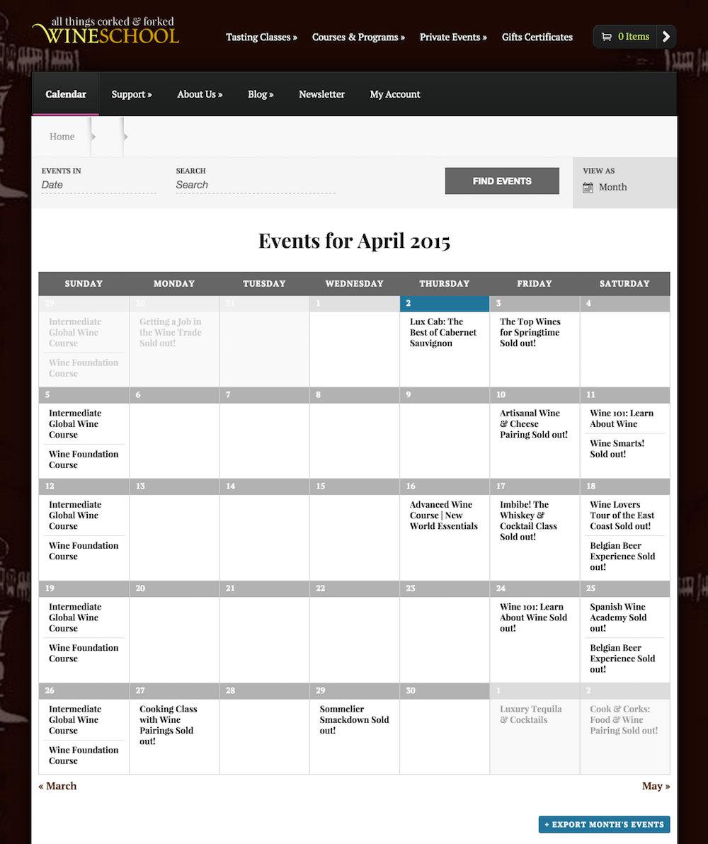showcase - wine school - month view