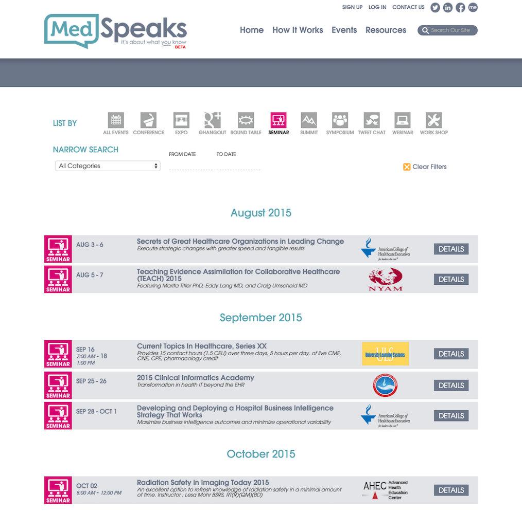 showcase - medspeaks - events by type