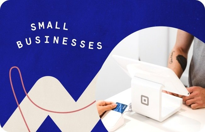 The words Small Businesses against a blue background.