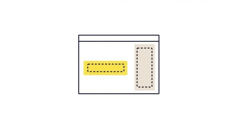 Illustration of an empty white webpage with a line for the top address bar, a yellow box in the body of the frame, and a tab box representing the sidebar.