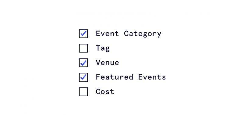 Illustration of event post options in a checklist that includes category, tag, venue, featured events, and cost.