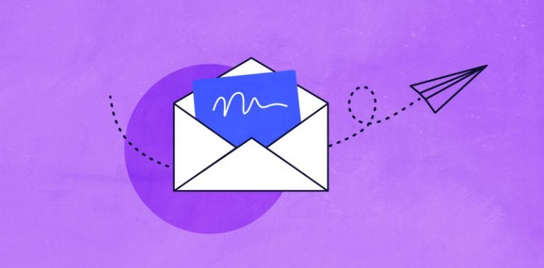 Illustrated envelope with a paper airplane flying out of it against a purple background.