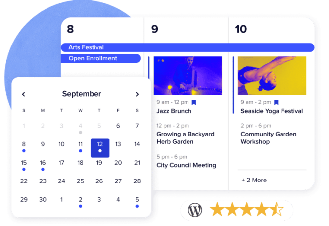 A screenshot of two calendars, one a mini month view and the other a weekly view above a five-star rating.