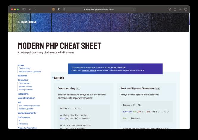 Modern PHP Cheat Sheet website