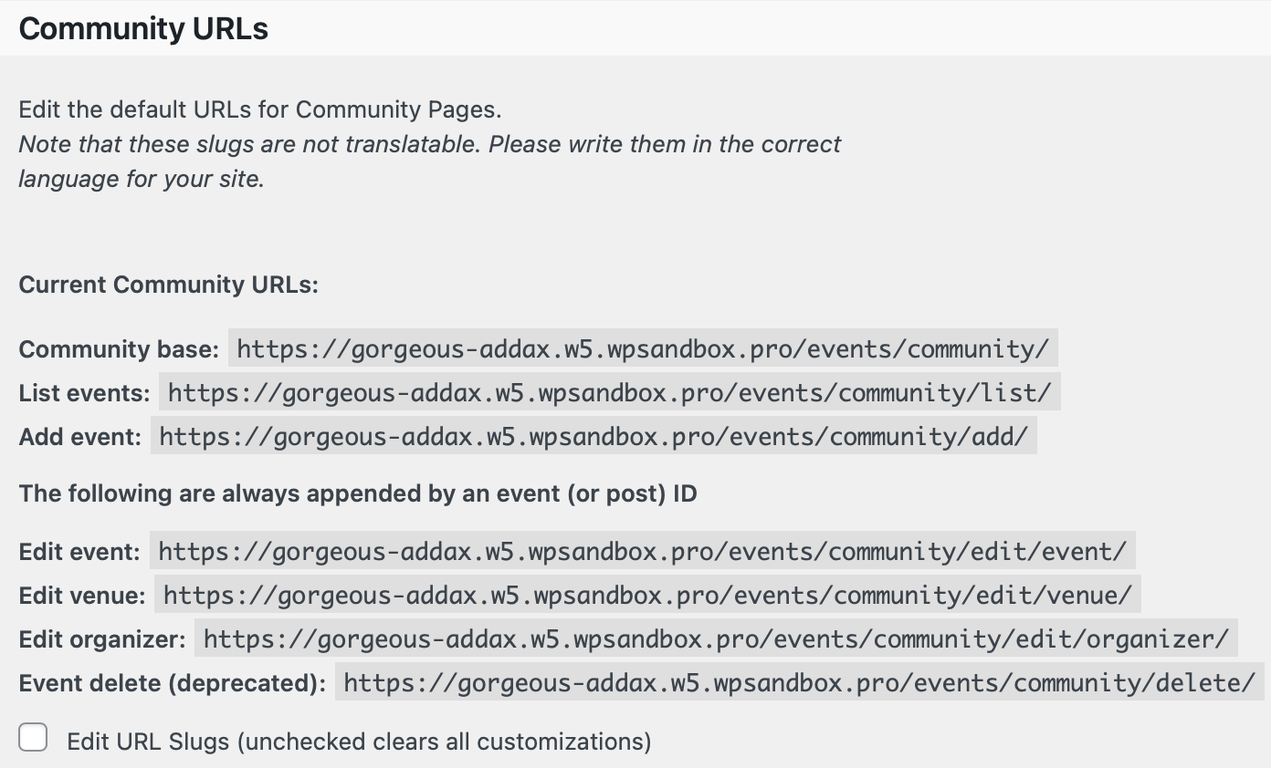 Community Events Community URLs Settings