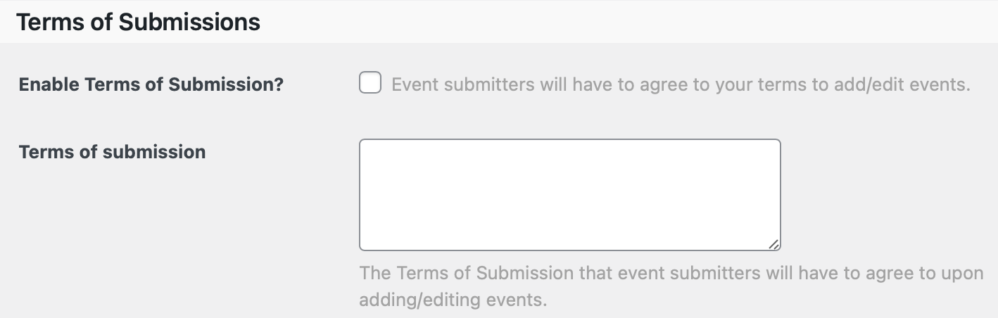 Community Events Terms of Submissions Settings