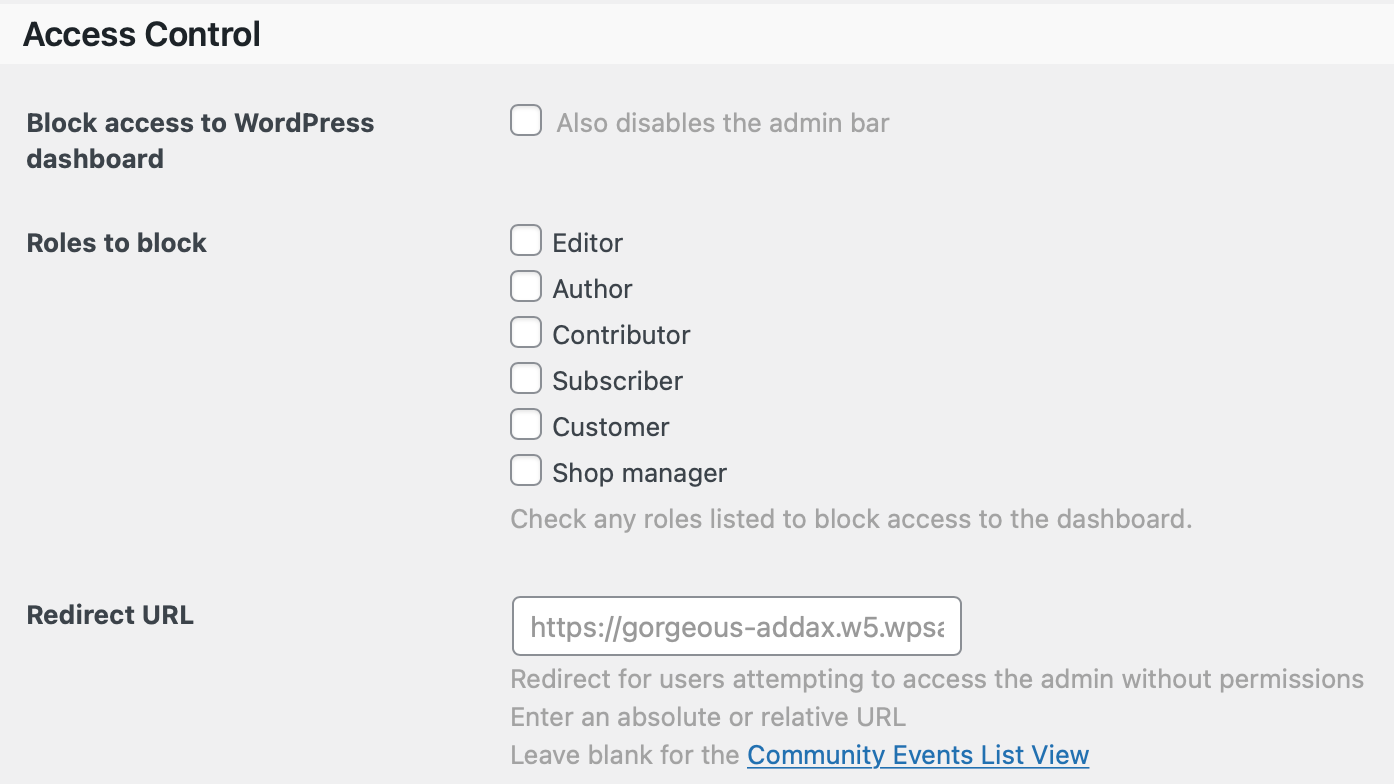 Community Events Access Control Settings