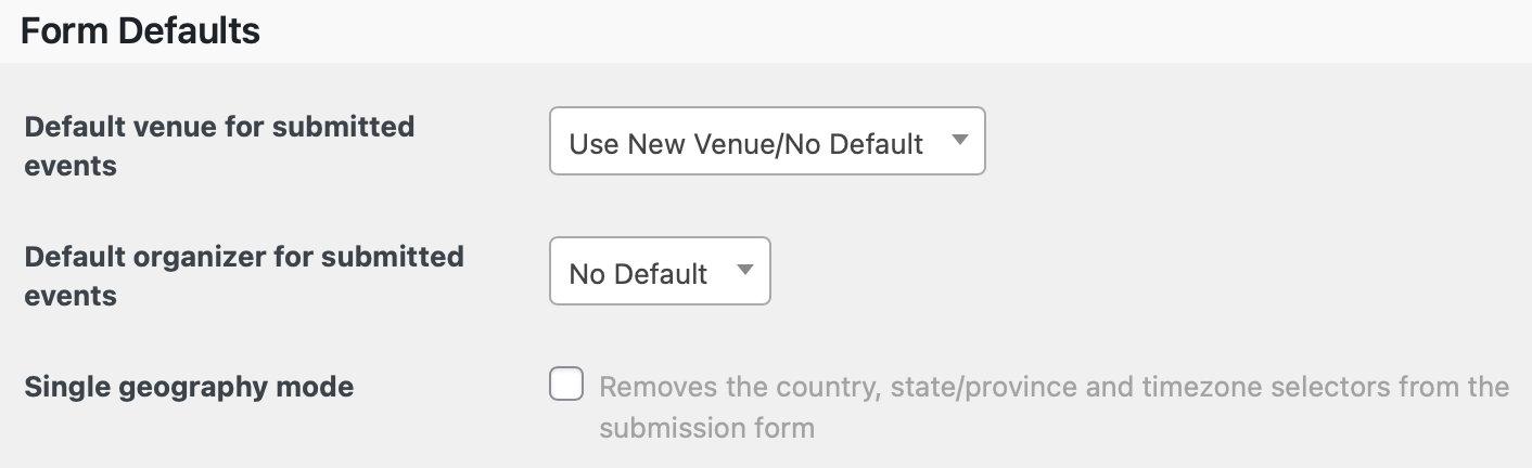 Community Events Form Defaults Settings