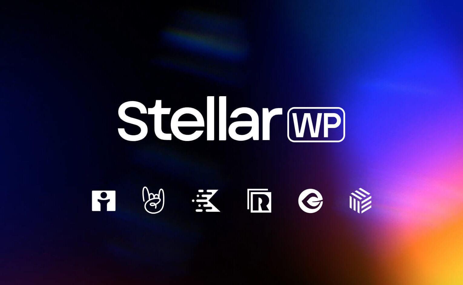 The StellarWP logo on a black background with blue and orange gradients. Undeneath are StellarWP brand logos