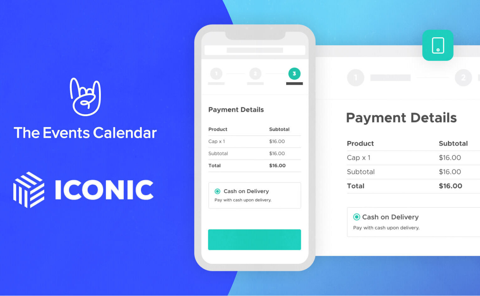 The Events Calendar and IconicWP logo. A screenshot of a simplified neat mobile and desktop checkout
